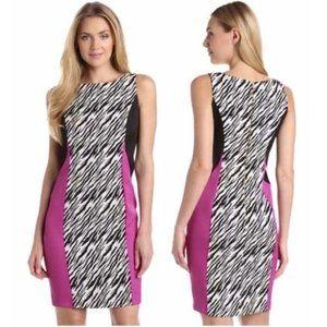 Julian Taylor Pink Black Animal Print Sheath Dress